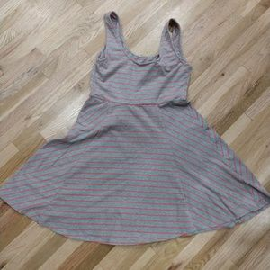 NWOT Grey dress with salmon colored stripes